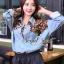 Seoul Secret เชิ้ตสียีนส์ ต่อด้วยผ้าชีฟองลายเสือ thumbnail 1