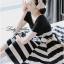 Lady Ribbon Stripe Mini Dress มินิเดรสลายขวางครีม-ดำ thumbnail 1
