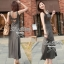Lady Ribbon Maxi Dress เดรสยาวแขนกุด เปิดหลัง สีเทา สีดำ thumbnail 6
