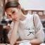 Lady Ribbon มินิเดรสผ้าชีฟองสีขาว คอตั้ง ทรงแขนป่อง thumbnail 5