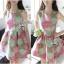 Lady Ribbon Graphic Style Dress เดรสลายดอก สีชมพูและเขียวอ่อน thumbnail 6