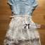 Lady Ribbon Twist Denim and Lace Dress with Belt thumbnail 6