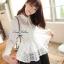 Lady Ribbon เสื้อผ้าแก้วทรงเชิ้ต ปักดอกไม้ สีขาว / สีดำ thumbnail 1