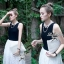 Lady Ribbon เดรสกระโปรงลูกไม้ตัวยาว โทนสีขาว-ดำ thumbnail 4