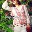 Lady Ribbon Top เสื้อแขนยาวสีขาวปักลายธรรมชาติ สีแดง thumbnail 2