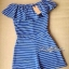Lady Ribbon Blue Jersey Stripe Off-shoulder Playsuit thumbnail 2