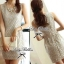 Lady Ribbon Pearly Graphic Embroidery Mini Dress โทนสีฟ้า-ครีม thumbnail 5