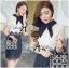 Lady Ribbon Collared Color-Block Lace Dress thumbnail 4