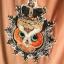 Owl&Crown Minidress พิมพ์ลายนกฮูกใส่มงกุฎ แต่งลูกปัด สีชมพู สีดำ thumbnail 5