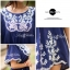 Lady Ribbon เสื้อตัวยาว ปักลายดอกไม้ ทรงค้างคาว thumbnail 7