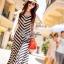 Lady Ribbon B&W Stripe Maxi Korea แม็กซี่ลายขวาง สุด Chic thumbnail 3