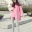 เสื้อยืดตัวยาว สีชมพูหวาน แต่งซิปด้านข้าง ชายเสื้อด้านหน้าสั้น ด้านหลังยาว thumbnail 1