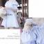 Lady Ribbon เดรสสายเดี่ยวเปิดไหล่ ลายทางสีฟ้าขาว แขนตุ๊กตา thumbnail 3
