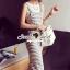 Seoul Secret Chic Stripy Bib Dress thumbnail 4