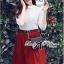 Lady Ribbon Set ชุดเซ็ทเสื้อผ้าลูกไม้สีขาวและกระโปรงสีแดงเบอร์กันดี thumbnail 4
