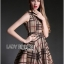 Lady Ribbon British Check Printed Beige Dress thumbnail 4