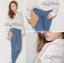 Lady Ribbon Sassy Shirt เสื้อเชิ้ตแขนยาว ตัดต่อผ้าตาข่าย ซีทรู สีขาว+สีดำ thumbnail 2