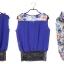 ชุดเซ็ตเสื้อผ้าชีฟองแต่งผ้าลูกไม้ กางเกงผ้าฝ้ายลายดอกไม้ Size M,L thumbnail 8