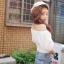 เสื้อผ้าฝ้ายสีขาว ปักฉลุ ยางยืดช่วงคอและแขน thumbnail 3