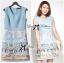 Lady Ribbon Roman Print Dress in Baby Blue thumbnail 6