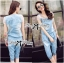 Lady Ribbon Crystal Embellished Denim Ensemble Set thumbnail 2