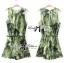 Lady Ribbon Green Leaf Jumpsuit จั๊มสูทขาสั้น พร้อมเข็มขัด thumbnail 2