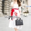 Lady Ribbon Painting Red Floral Print Midi Dress in White thumbnail 2
