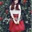 Lady Ribbon Set ชุดเซ็ทเสื้อผ้าลูกไม้สีขาวและกระโปรงสีแดงเบอร์กันดี thumbnail 5