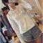 Lady Ribbon Sweet Mix Fabrics Lace Blouse thumbnail 1