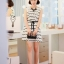Cherry KOKO เดรสผ้าชีฟอง สีขาวพิมพ์ลายริ้วดำ พร้อมโบว์ thumbnail 4