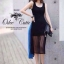 Korean Spot Sexy Nightclub Dress เดรสแขนกุดผ้าตาข่ายสีดำ thumbnail 3