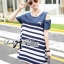Lady Ribbon Casual Style Cut-Out Denim Striped Dress thumbnail 5