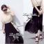 Lady Ribbon Maxi Dress เดรสยาวโทนสีครีมดำ ผูกโบว์ thumbnail 6