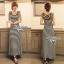 Lady Ribbon Striped Maxi Dress เดรสยาวแขนกุด ลายทางทรงบอดี้คอน thumbnail 8