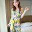 จั๊มสูทขายาว ผ้าชีฟองลายดอกไม้ มีผ้าผูกโบว์ สีเขียว / สีชมพู thumbnail 3