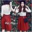 Lady Ribbon Set ชุดเซ็ทเสื้อผ้าลูกไม้สีขาวและกระโปรงสีแดงเบอร์กันดี thumbnail 3