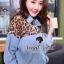 Seoul Secret เชิ้ตสียีนส์ ต่อด้วยผ้าชีฟองลายเสือ thumbnail 3