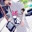 Stripy CC Bow Print Dress Shirt by Seoul Secret thumbnail 4
