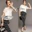 Lady Ribbon Lace Blouse and Polka Dots Peplum Pant Set thumbnail 1