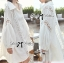 Lady Ribbon Patchwork Flared-Sleeve Shirt Dress in White thumbnail 2