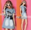 Lady Ribbon Horse Embellished Ripped Faded Denim Dress thumbnail 4