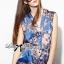 Lady Ribbon Chinoise Floral Printed Sleeveless Shirt Jumpsuit thumbnail 3