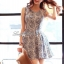 Lady Ribbon Floral Print Cut-Shoulder Mini Dress thumbnail 1