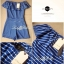 Lady Ribbon Blue Jersey Stripe Off-shoulder Playsuit thumbnail 3