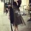Lady Ribbon Fluffy Maxi Dress แม็กซี่ผ้ายืด กระโปรงผ้าซีทรู thumbnail 1