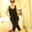 จั๊มสูทผ้าชีฟองสีดำ สีชมพู สม็อคเอว thumbnail 3