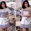 Lady Ribbon ชุดเซ็ตเสื้อนอก พร้อมเดรสเกาะอก ผ้าทวีทขาวดำ thumbnail 5