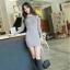 UrbanStyle Dress by DNA เดรสเข้ารูป ผ้าไหมพรมสีเทา เปิดเว้าช่วงไหล่ thumbnail 2