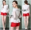Lady Ribbon Chiffon Blouse and Red Hot Pants Set thumbnail 2