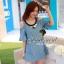 Seoul Secret เดรสผ้าฝ้ายสีฟ้า พิมพ์ลายจุด เว้าไหล่ แต่งระบายที่แขน thumbnail 1